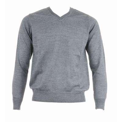 Pull avec laine col V gris acier