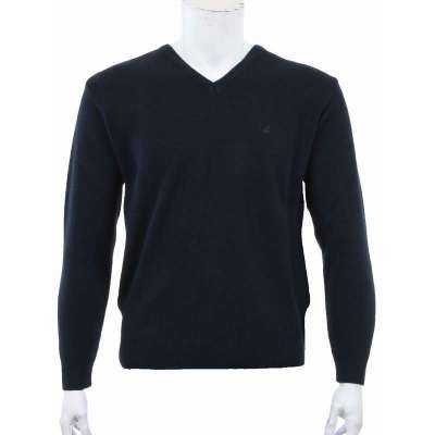 Pull col V Maille Lacoste bleu marine