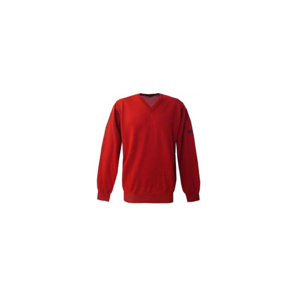 Pull V Monte Carlo rouge avec laine MONTE CARLO - 1