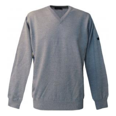 Pull V Monte Carlo gris clair avec laine