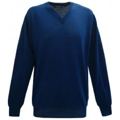 Pull V Monte Carlo bleu roi chiné avec laine