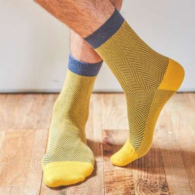 Chaussettes BILLYBLET chevrons jaune