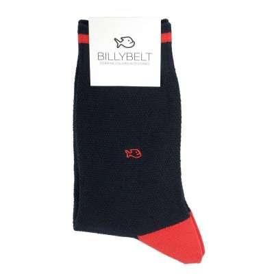 Chaussettes BILLYBLET maille piquée marine et rouge