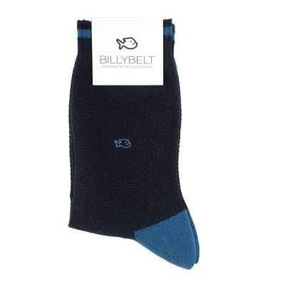 Chaussettes BILLYBLET maille piquée marine et bleue