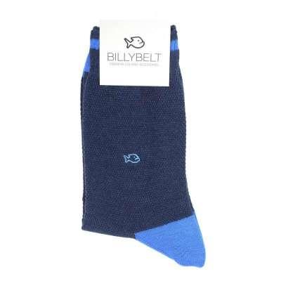 Chaussettes BILLYBLET maille piquée bleu de Chine et ciel