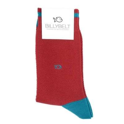 Chaussettes BILLYBLET maille piquée rouge et bleu pétrole