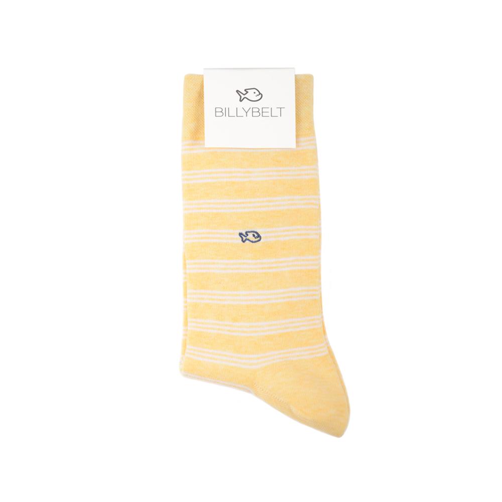 Chaussettes rayées jaune et blanc