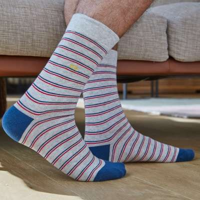 chaussettes BILLYTBELT fines rayures gris-bleu BILLYBELT - 3
