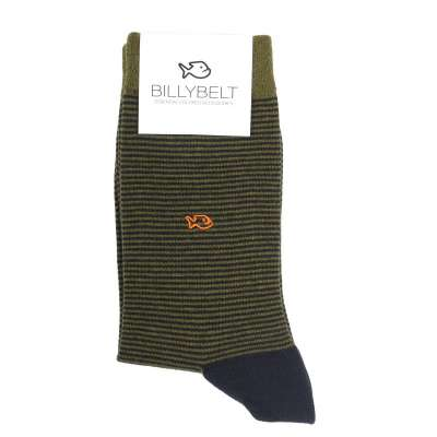 Chaussettes à rayure teinte kaki