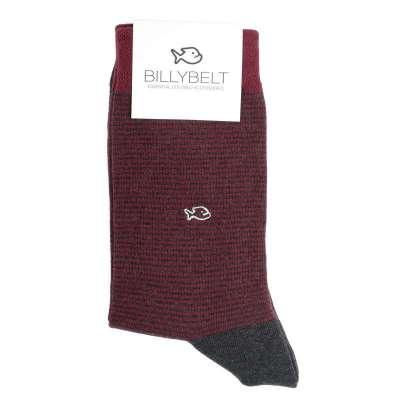 Chaussettes Billybelt à rayures fines bordeaux