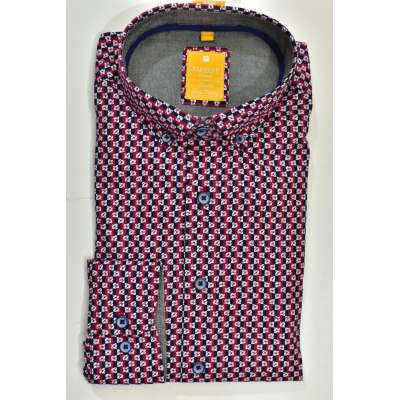 Chemise micro motif rouge