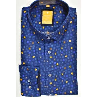 Chemise bleu lumineux à motifs