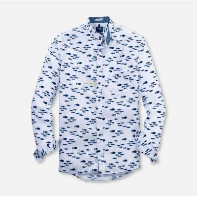 Chemise pur lin OLYMP col Mao blanche motifs bleus OLYMP - 1