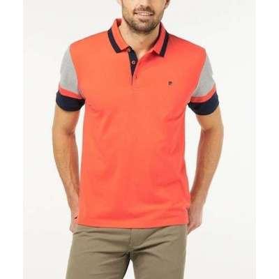Polo Pierre Cardin contraste orange et gris