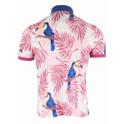 Polo motif tropical rose et bleu LA SQUADRA - 1