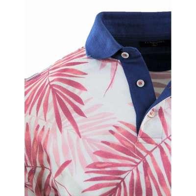 Polo motif tropical rose et bleu LA SQUADRA - 2