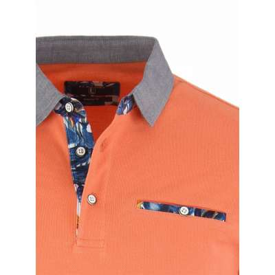 Polo orange motif tropical LA SQUADRA - 1