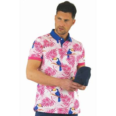 Polo motif tropical rose et bleu