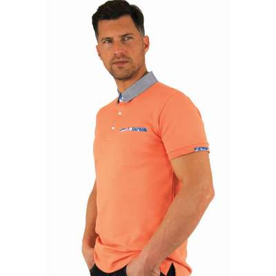 Polo orange motif tropical LA SQUADRA - 4