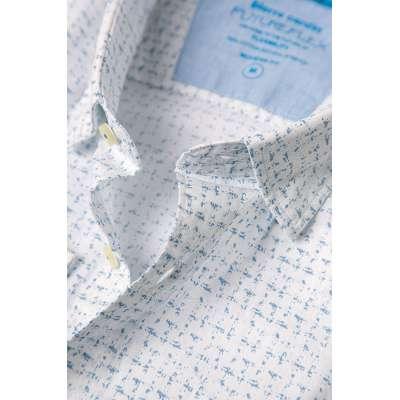 Chemise Pierre CARDIN blanche motif bleu clair CARDIN - 3