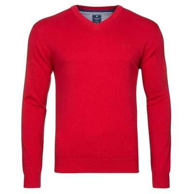 Pull col V REDMOND en coton rouge REDMOND - 1