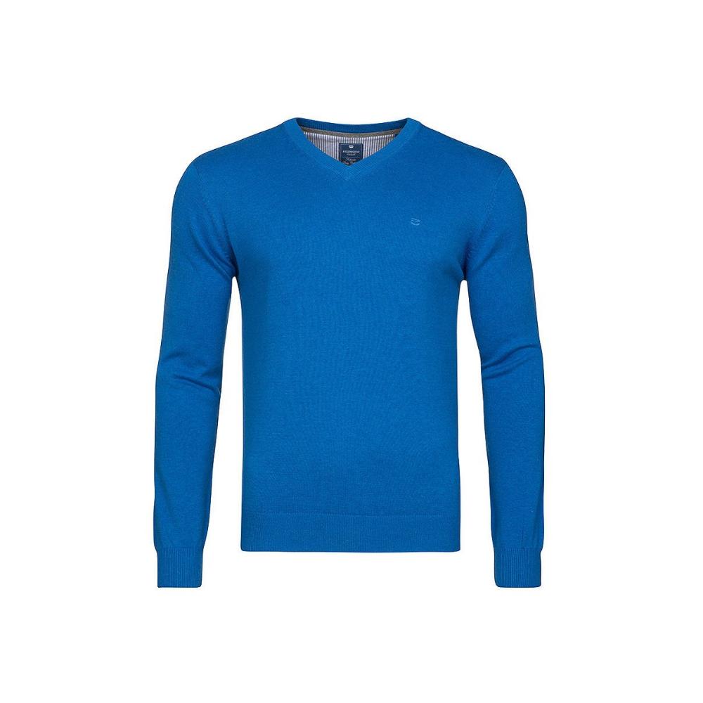 Pull col V en coton bleu REDMOND - 1