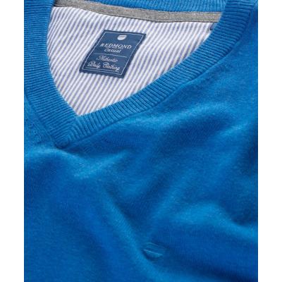 Pull col V en coton bleu REDMOND - 2